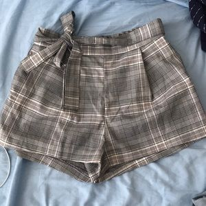 Cute plaid shorts with tie in the front